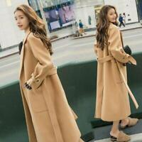 Women's Autumn Coat Wool Blend Casual Trench Coat Oversize Cashmere Long Belted