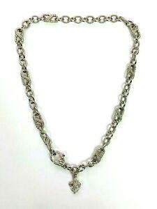"Judith Ripka 925 Sterling Silver Link Necklace with Fleur de Lis Charm w/ CZ 18"""