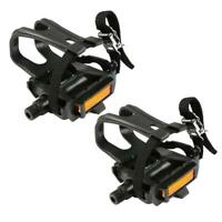1 Pair Mountain Road Bike Fixed Gear Bicycle Pedals with Toe Clips Straps TN2F