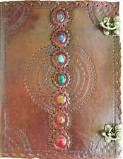 """HUGE 7 Chakra Stone Leather Journal Blank Book of Shadows 10""""x13"""" linen pgs"""