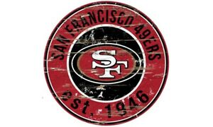SAN FRANCISCO 49ERS Round Distressed Sign 24x24