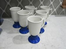 Hall USA Irish Coffee Mugs Pedestal 1273 Blue Footed
