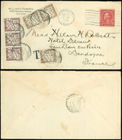 1928 Chicago, Short Paid- FRANCE, 180 Centimes / Chiffre Tax Stamps, #634 PERFIN