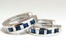 1.70ct Natural Sapphires & diamonds Huggie Earrings