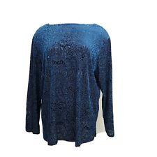 Dialogue Blue And Black Paisley Velvet Textured Career Blouse Top Shirt 1X