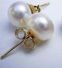Hot 10-11 mm South Sea White Stud Pearl Earrings 14k GOLD