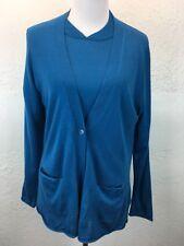 S24 Pendleton Sz L Petite Blue Mercerized Wool Cashmere Cardigan Sweater Twinset