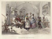 München, Gasthaus in der Umgebung, altkolorierter Original-Stahlstich ca. 1850
