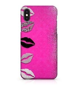 Black White Grey Girly Multi Coloured Lips Pink Glitter Effect Phone Case Cover