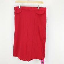 Stop Staring! Solid Red High Waist Pinup Pencil Skirt Pleated VLV Size: 16 NEW