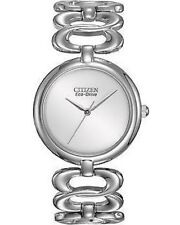 NIB CITIZEN Silhouette Silver Tone Stainless Steel Eco-Drive Solar Ladies Watch