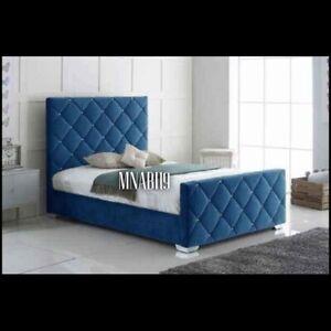 BLUE PLUSH VELVET DIAMOND BED FRAME NEW FREE DELIVERY SALE ALL SIZE