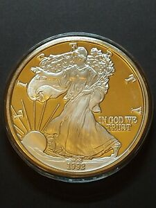 1 Troy Pound 999 Fine Silver 1992 American Eagle Liberty Silver Bullion
