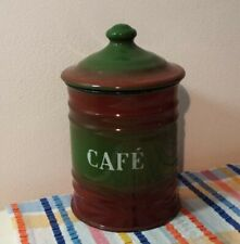 Vintage French Enamel Ware Canister Brown Green café Shabby Chic