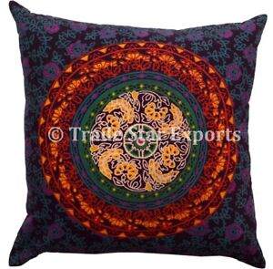 Set Of 2 Pcs Indian Square Mandala Pillow Case 18X18 Ethnic Cotton Cushion Cover