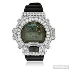 Silver Big Stone 13.5 CTW G-Shock DW6900 Iced Out Watch
