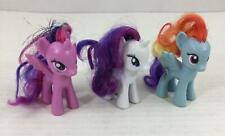 "My Little Pony Set of 3 Rainbow Dash Rarity Pinkie Pie 3"" Girls Toy Hasbro"