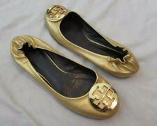 TORY BURCH womens 9 gold Reva Ballerina ballet flats medallion logo