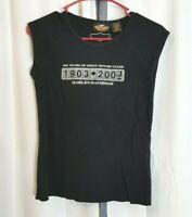 2003 Harley Davidson Motorcycles 100 Years Women's Medium M Black Top Shirt