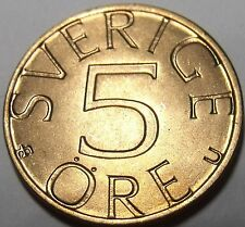 Gem Unc Sweden 1976-U 5 Ore~1st Year Ever Minted~Carl XVI Gustaf~Excellent~Fr/Sh
