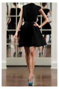 EXC VICTORIA BECKHAM COUTURE BLACK STRETCH WOOL-BLEND DRESS UK 12 £840