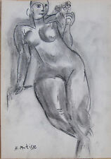 Beautiful corcal drawing of a neked woman signed Matisse