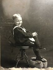 Antique Photo ~ Rambunctious Little Boy in Sailor Suit ~ Findley Lake, NY