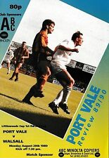 Football Programme>PORT VALE v WALSALL Aug 1989 FLC