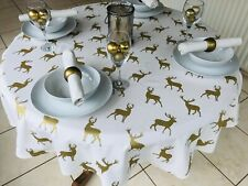 150CM DIAMETER ROUND CHRISTMAS TABLECLOTH CREAM & GOLD STAGS