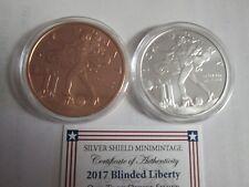 2017 Blinded Liberty Silver Shield 2 oz .999 Silver / Copper BU W/COA & capsule