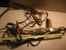 """Silver Concho Leather Bridle & 80"""" Reins Halter Harness Horse Curb Grazing Bit"""