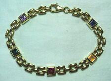 14K Gold Bracelet w Sapphire Citrine Ruby Emerald Amethyst 11.7 grams