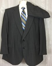 Towncraft Mens Charcoal Striped 2pc Suit Poly Wool Sz 52R 38x30.5 (t5)