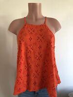 Free People Woman OS Embroidery Cute Boho Orange Tank Top Flirty Perfect