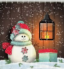 Christmas Snowman With Present Fabric SHOWER CURTAIN Snowflakes Rustic Boards
