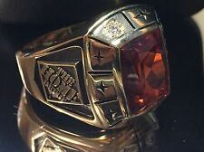 Men's THE HOME DEPOT Ring SOLID 10k Yellow Gold Size-13 Orange Stone/2-Diamonds