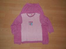 Mädchen Schlafanzug Pyjama 2Teiler rosa pink Motiv Blumen Gr.140 lang Frottee