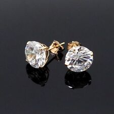 14K Yellow Gold 4 CT Created Diamond Pushback Stud Earrings 8mm