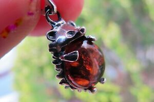 Hedgehog Amber Pendant Cute Crystal Fossil small 925 Silver Lithuanian Healing