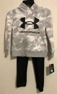 NWT UA Under Armour Little Boys Camo Hoodie and Pants Set Gray/White Size 4