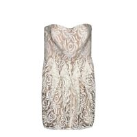 Jessica Simpson Womens Cocktail Dress Size 6 White Beige Lace Strapless Mini