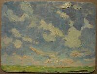 Russian Ukrainian Soviet Oil Painting Impressionism landscape sky field summer