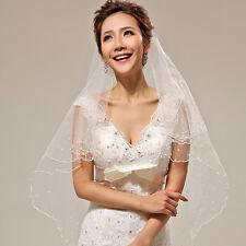 1 Layer Ivory Crescent Edge Bride Bridal Wedding Accessories Peral Veil No Comb