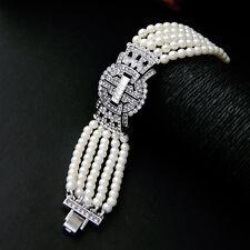 Costume Bracelet Silver Multi Row White Pearl Art Deco Cross Wedding Retro CT4