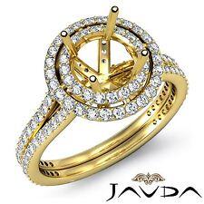 2 Row Halo Pave 18k Yellow Gold 1.55Ct Diamond Engagement Ring Round Semi Mount