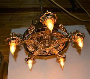 Bold Vtg Antique Gothic Spanish Revival Gold Tone Cast Metal 5 Light Chandelier