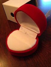 3 Red Flocked Heart Hinged Ring Gift Boxes ~ NIB
