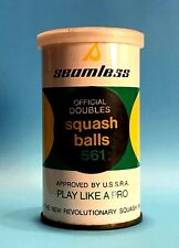 VINTAGE SEAMLESS OFFICIAL DOUBLES SQUASH BALLS 561 IN ORIGINAL TIN CAN USED RARE