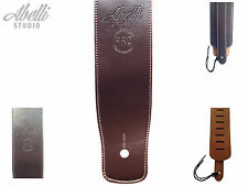 Brown Faux Leather Guitar Strap Adjustable Electric Acoustic by Abelli Studio