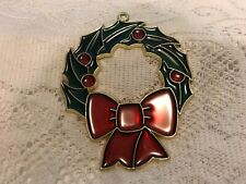 Vintage Stained Glass Wreath Christmas Ornament Suncatcher